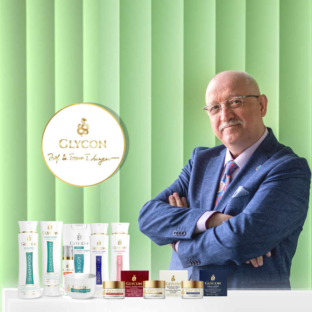 glycon gama produse cosmetice crema antirid antiacnee spf50 lapte de corp demachiant acid glicolic dr toma mugea sampon balsam masca profesionala